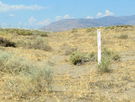 Signage marks the Fernley Swales, depressions formed