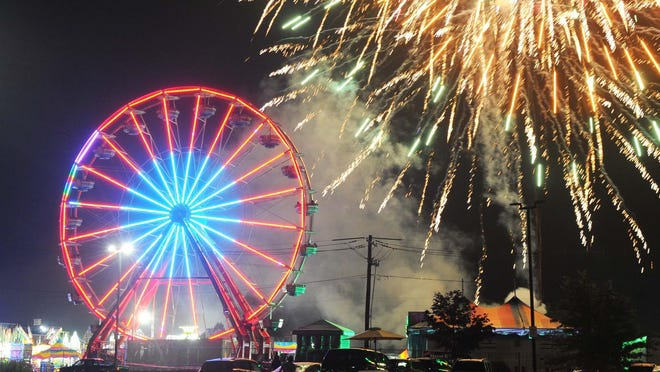 In a June 29, 2019, file photo, fireworks illuminate the sky during the 145th Brockton Fair.