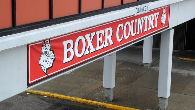 FILE - A Nov. 18, 2017, file photo shows the Boxer Country sign on the outside of the Brockton High School building.