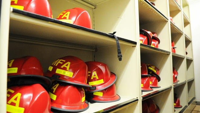 Helmets used by firefighter recruits who train at the Bridgewater campus for the Department of Fire Services on Feb. 11, 2020. (Marc Vasconcellos/The Enterprise)