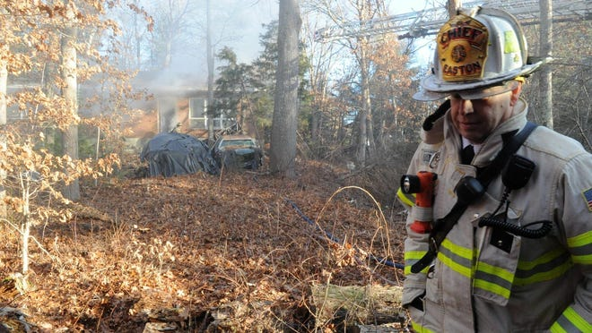 FILE - Easton Fire Chief Kevin Partridge at the scene of a fatal house fire at 42 Dean St., Wednesday, Jan. 2, 2019.