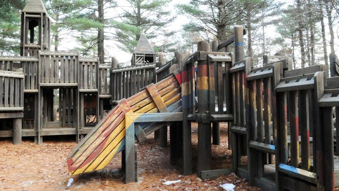 Rainbow's End playground, closed by the Town of Bridgewater in 2015 after concerns of arsenic in the soil, pictured in November 2018 before it was torn down. Soil at the former playground recently tested positive for high levels of arsenic.