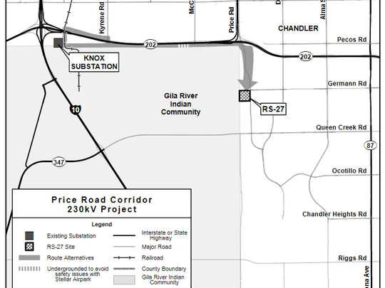 A map of the newly proposed routes for power lines along the Price Corridor in Chandler.