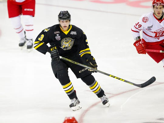 Green Bay Gamblers' Jack Poehling (3) during Monday night's USHL Eastern Conference semifinal game against the Dubuque Fighting Saints at the Resch Center in Ashwaubenon