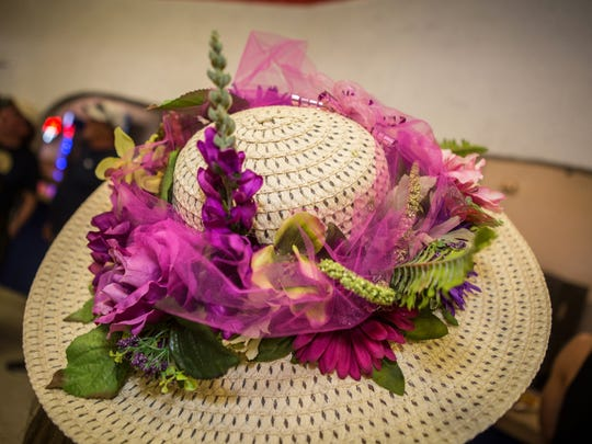 A fun floral hat at Turf Paradise's Kentucky Derby party in Phoenix on Saturday, May 2, 2015.