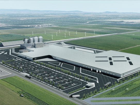 A sketch of what Faraday Future's facility in Hanford,
