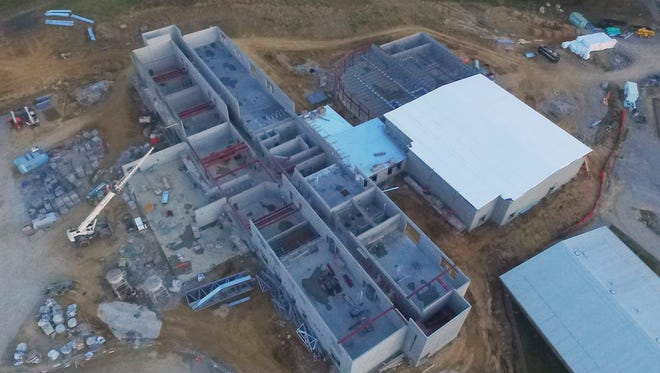 A drone's eye view shows the amount of progress made on the new Spottsville Elementary School. It's been one year since ground was broken and, although there have been a few setbacks, officials are hoping the facility will be ready for classes in fall of 2018.