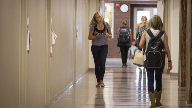 Students head to class on Aug. 22, 2016, at Ball State University.