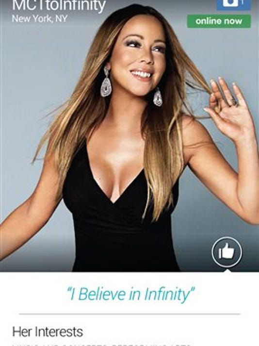 This screen image released by Match.com shows the profile page for singer  Mariah Carey.