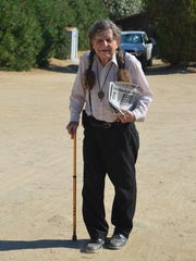 Art Kunkin arrives at the Contact in the Desert 2014 UFO conference at the Joshua Tree Retreat Center on Friday, Aug. 8, 2014.