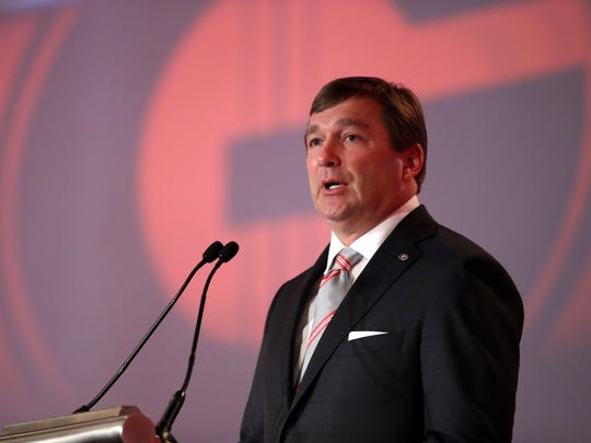 Jul 11, 2017; Hoover, AL, USA; Georgia head coach Kirby Smart speaks to the media at the Hyatt Regency Birmingham-The Winfrey Hotel. Mandatory Credit: Jason Getz-USA TODAY Sports