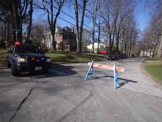 Police vehicles seen on Lincoln Road in Scarsdale Wednesday