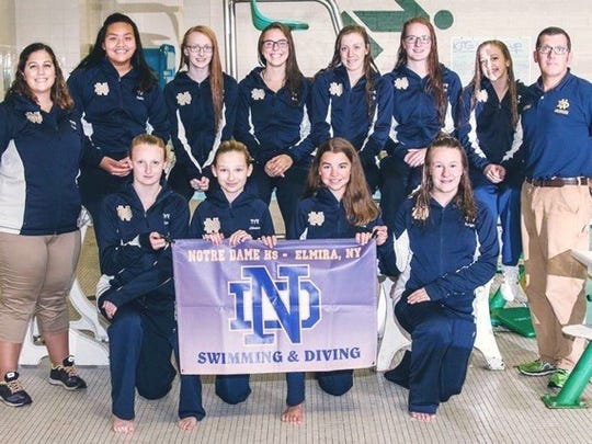 This year's Notre Dame girls swimming team.