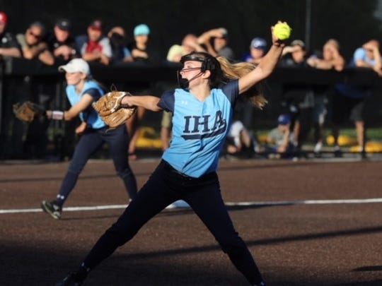 IHA senior left-hander Olivia Sprofera allowed just two hits and struck out nine in seven scoreless innings to lead the second-seeded Blue Eagles to a 1-0 win over Mount St. Dominic Thursday at Ivy Hill Park.