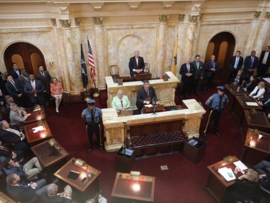 Gov. Chris Christie addresses the Legislature Saturday