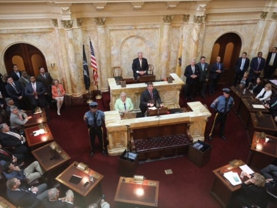 Gov. Chris Christie addresses the Legislature Saturday afternoon during the government shutdown, which he ordered Friday night after reaching an impasse in budget negotiations with Assembly Speaker Vincent Prieto.
