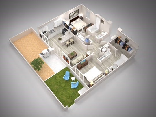 A floor plan for one of the rental homes in the Christopher