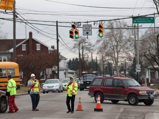 A car crashed into an electrical pole on Broadway,