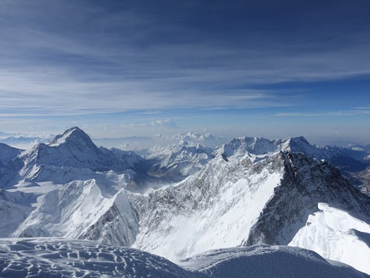 A view from the summit of Mt. Everest.