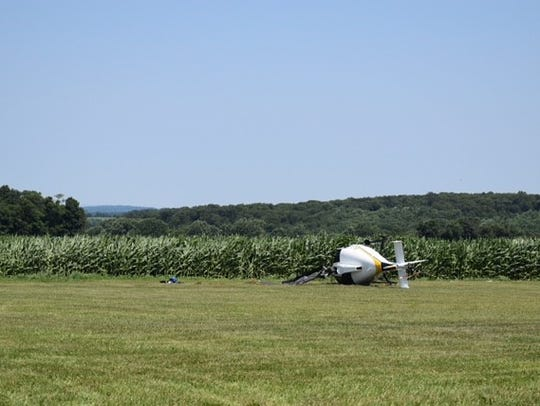 A helicopter crashed in North Hopewell Township Saturday,