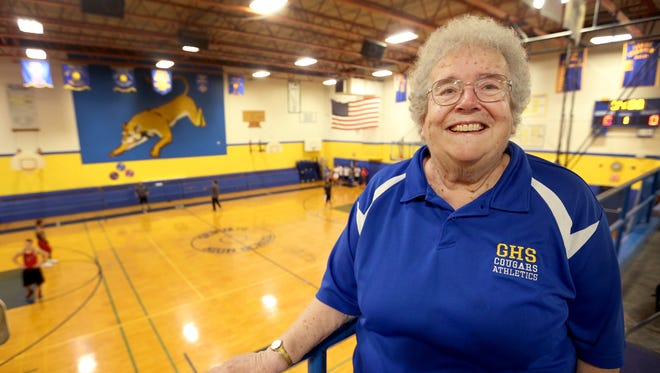Jeannine James will soon begin her 48th season keeping statistics and running the scoreboard for boy's and girl's basketball at Gervais High School. She has continued to help several teams with statistics since she retired from the school in 2002. Photographed at Gervais High School on Tuesday, Nov. 15, 2016.