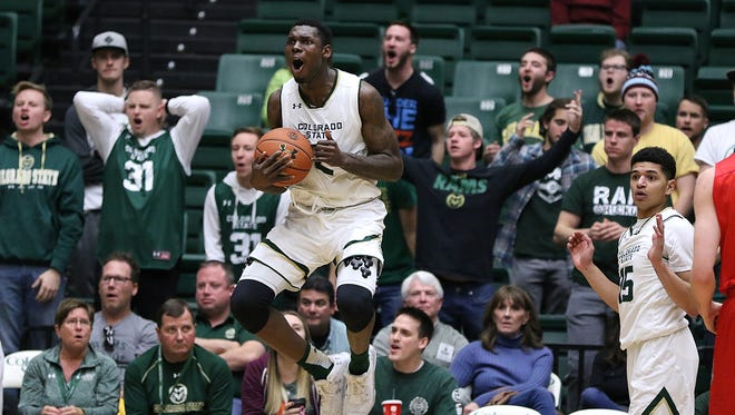 Rams forward Emmanuel Omogbo protests a foul called on a shot block attempt during the Colorado State Rams' 84-71 loss to the New Mexico Lobos on Saturday Jan. 14, 2017, at Moby Arena in Fort Collins, Colo. (Photo by Brian Smith/for the Coloradoan)