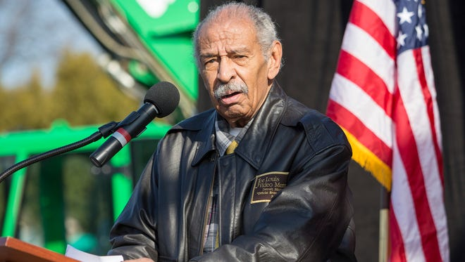 Rep. John Conyers speaks during a rally to stand up to Republicans and to save healthcare at Macomb Community College on Sunday, January 15, 2017 in Warren.