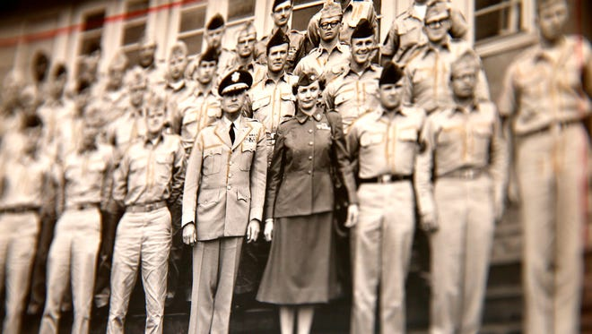 """Alice """"Nora"""" Howes, now 99, was the only woman in this public relations course graduation photo from 1958. The Brick Township served in the Women's Army Corps from 1943-1969."""