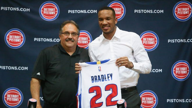 Pistons president and head coach Stan Van Gundy introduces Avery Bradley on July 13, 2017 at the practice facility in Auburn Hills.