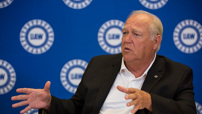UAW president Dennis Williams speaks with reporters during a roundtable discussion at the UAW headquarter, Thursday, July 20, 2017 in Detroit.