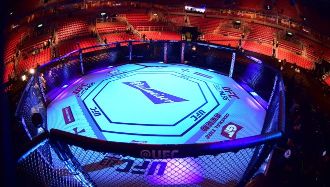 General view of the gym and octagon before UFC 212 in Brazil.