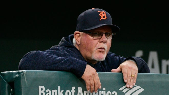 Tigers manager Ron Gardenhire (15) looks onto the field during the first inning on Friday, April 27, 2018, in Baltimore.