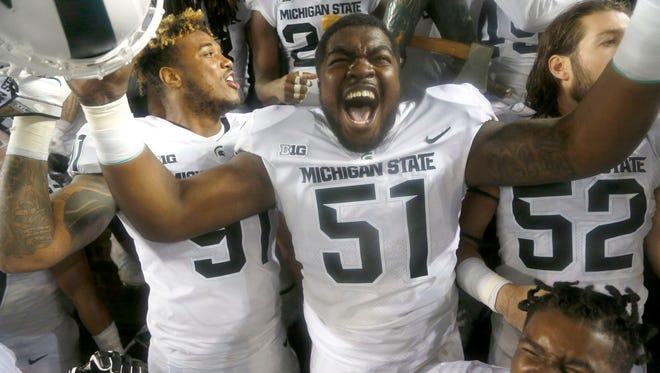 Michigan State defensive lineman Kyonta Stallworth had six tackles in the win over Penn State on Saturday in East Lansing.