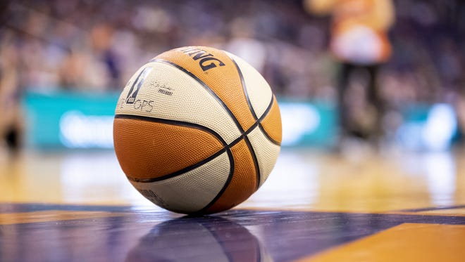 A basketball sits on the court during the game between Phoenix Mercury and Minnesota Lynx at Talking Stick Resort Arena on Friday, June 22, 2018 in Phoenix, Arizona.