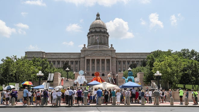 Members of the Poor People's Campaign rally at the Kentucky State Capitol on Monday afternoon.June 18, 2018