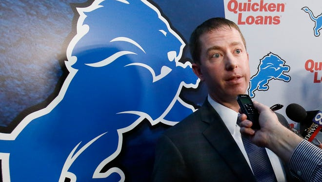 Lions general manager Bob Quinn answers reporters questions after being introduced during a news conference Monday, Jan. 11, 2016, in Allen Park, Mich.