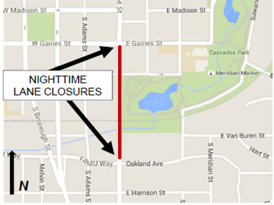 South Monroe Street will have nightly lane closures between FAMU Way/Oakland Avenue and Gaines Street from May 16 through May 19.