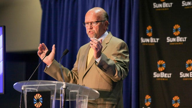 Sun Belt Conference commissioner Karl Benson speaks at the league's annual Media Days.