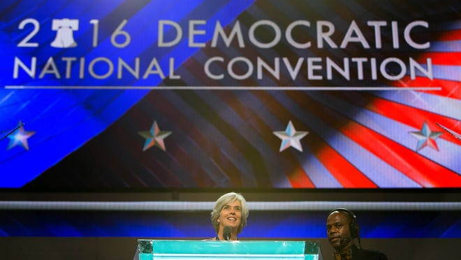 Female representatives along with Minority Leader Nancy Pelosi do a mic check on the first day of the Democratic National Convention which kicks off at the Wells Fargo Center in Philadelphia today.