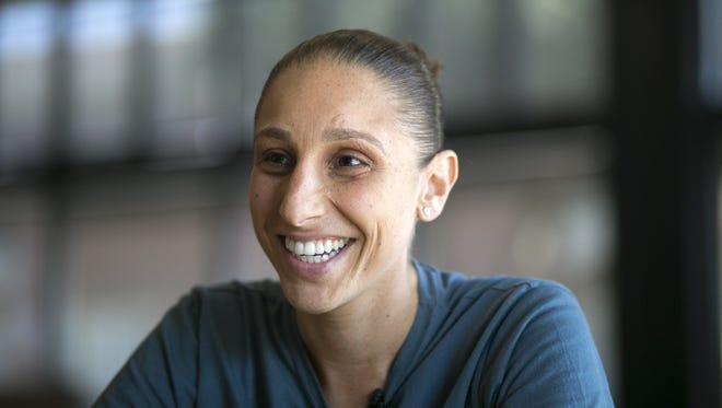 Phoenix Mercury guard Diana Taurasi speaks with azcentral sports columnist Dan Bickley in Phoenix on July 15, 2016.