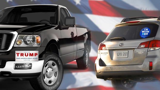 Those who identify as Republican prefer these vehicles: Ford F-150, Chevrolet Silverado, Ram 1500, Ford F250/350 and Ram 2500/3500. The most popular vehicles for Democrats are Subaru Outback, Honda CR-V, Honda Civic, Toyota RAV4 and Subaru Crosstrek.