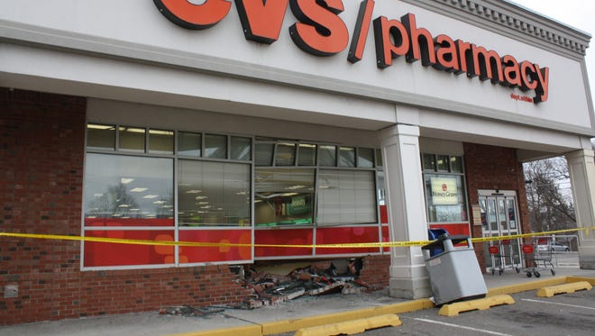 No injuries were reported after a car crashed into CVS Pharmacy on Sunday.