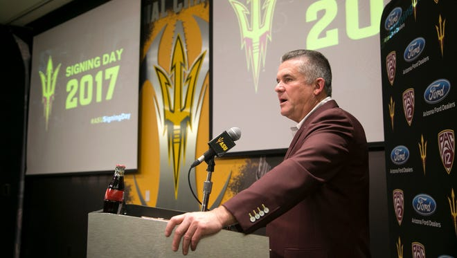 ASU head football coach Todd Graham speaks about their signees at the Carson Student Athletic Center at ASU in Tempe on Wednesday, February 1, 2017.