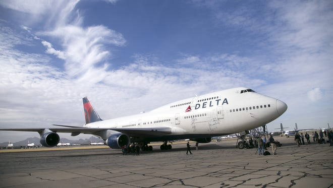 The last 747 that Delta flew after it landed at the Pinal Airpark in Marana, for its final resting place on Wednesday, January 3, 2018.
