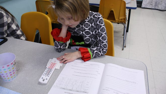 Second-grader Dellarae Dayton, 7, of Harpursville, uses a thermometer during a Project Lead the Way lesson at Palmer Elementary School on Jan. 9.
