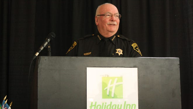Broome County Sheriff David Harder speaks to the Binghamton Rotary Club on Tuesday.