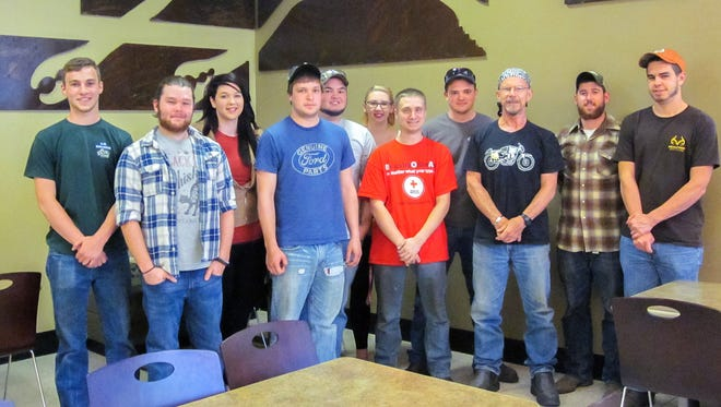 Student volunteers are shown, from left: Logan K. Garvey, of Williamsport; Gabriel M. Round, of Butler; Bailey K. Austerberry, of Pitman; Michael R. Allen, of Laughlintown; Sawyer G. Macurdy, of Cabot; Jessica L. Szejk, of Clearfield; Kyle X. Beam, of New Freedom; David P. Young, of Spring Mills; Michael K. Patterson, welding lecturer and project leader; Albert M. Gensel, of Canton; and Hunter M. Comeau, of Freeport.