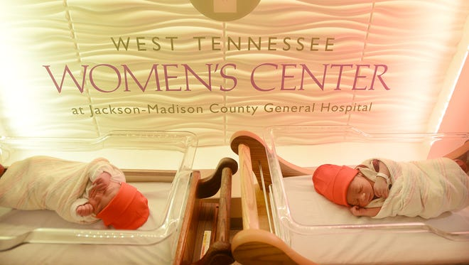 Babies born in February at the West Tennessee Women's Center at Jackson Madison County General Hospital are given red hats to emphasize heart health.