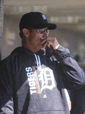 Tigers manager Brad Ausmus in the dugout during the seventh inning against the Twins on Wednesday, April 12, 2017 at Comerica Park.