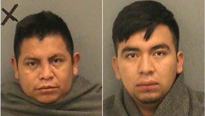 Felipe Sales-Mendez (left) and Jose Garcia were taken into custody by the Navajo County Sheriff's Office for allegedly smuggling 14 undocumented immigrants.